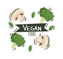 vegan food poster with mushrooms and broccoli vector