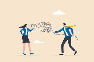 Businessman and woman communication concept vector