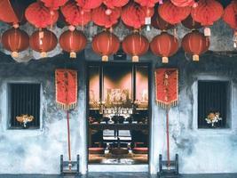 bangkok, tailandia oct, 2019 - exhibición de linternas chinas rojas foto