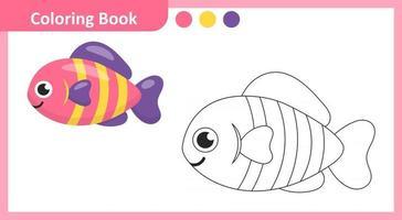Coloring Book Fish vector