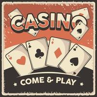 Retro vintage illustration vector graphic of Casino Card fit for wood poster or signage