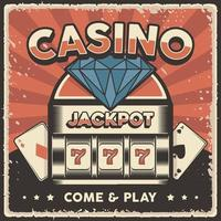 Retro vintage illustration vector graphic of Casino Jackpot Slot Machine fit for wood poster or signage