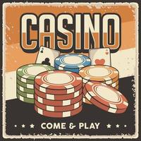 Retro vintage illustration vector graphic of Casino Chips fit for wood poster or signage