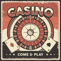 Retro vintage illustration vector graphic of Casino Roulette fit for wood poster or signage