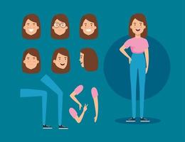 young woman with body parts characters vector