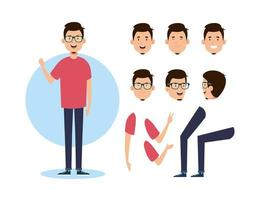 young man with body parts characters vector