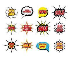 paquete de letras oferta estilo pop art vector