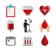 bundle of blood donation icons vector