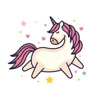 cute unicorn fantasy with hearts and stars decoration vector