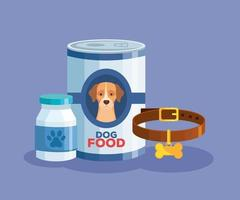food of dog animal in can and icons vector
