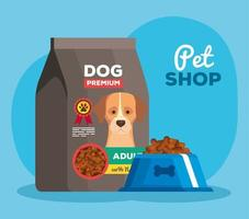 pet shop with dish and bag food dog vector