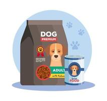 food of dog animal in can and bag vector