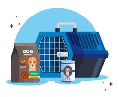food and box transport of dog animal vector
