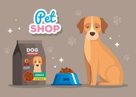 pet shop and dog animal with dish food vector