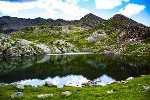 Mountains and a lake photo