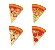 bundle of delicious pizza and portions vector
