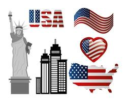 bundle of united states of america emblems vector