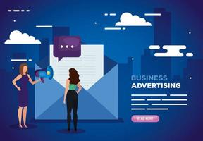 business advertising with women and envelope vector