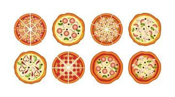 bundle of delicious pizza icons vector