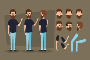 young man with beard and body parts characters vector
