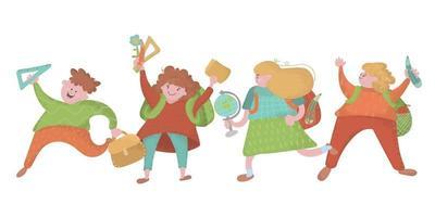 Schoolchildren with backpacks and school supplies set vector
