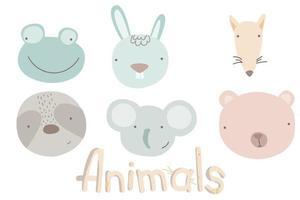 Cartoon cute animal heads set vector