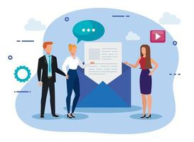 group of business people with envelope and icons vector