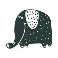 Cute nursery hand drawn elephant in scandinavian style vector