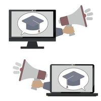 Flat Design Line of online learning concept vector