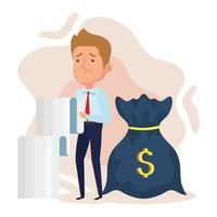 Elegante empresario preocupado con el comprobante de recibo y la bolsa de dinero vector