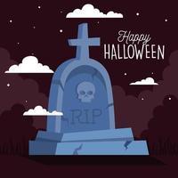 Banner de feliz halloween con lápida en la noche oscura vector