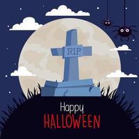 banner de feliz halloween con lápida y arañas vector