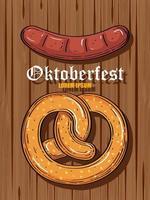 Celebración del festival de la cerveza Oktoberfest con pretzel y salchichas en fondo de madera vector