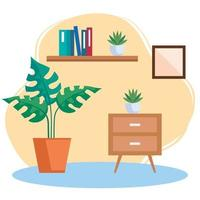 house place interior scene with set icons furniture decoration vector