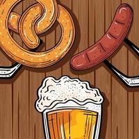 Vaso de cerveza con pretzel y salchichas en fondo de madera vector