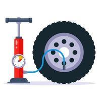 Bombear una ilustración de vector plano de rueda de coche