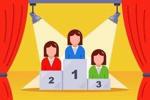 girls stand on a podium at a beauty pageant flat vector illustration