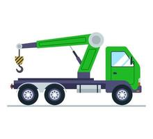 green truck with a crane flat vector illustration