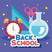 Banner de regreso a la escuela con reloj despertador y suministros educativos. vector