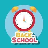 pancarta de regreso a la escuela con reloj despertador vector