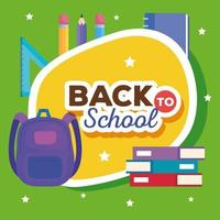 back to school banner with backpack and supplies education vector