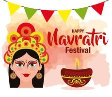 poster of goddess durga with garlands hanging for happy navratri celebration vector
