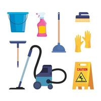 set of cleaning supplies icons vector