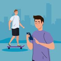 young men doing activities outdoor vector