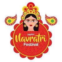 poster of goddess durga for happy navratri celebration vector