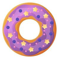 Bright doughnut with purple glaze and lavender No diet day symbol unhealthy food sweet fastfood sugar snack extra calories concept Stock vector illustration isolated on white background in cartoon style