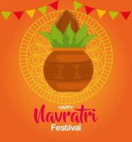 happy navratri celebration poster with plant in ceramic and garlands hanging vector