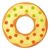Bright doughnut with cream glaze and gummies No diet day symbol unhealthy food sweet fastfood sugar snack extra calories concept Stock vector illustration isolated on white background in cartoon style