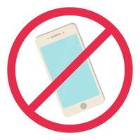 No phone sign Red smartphone prohibited rule symbolTurn off telephone no allowed concept Stock vector iilustration in cartoon style isolated on white
