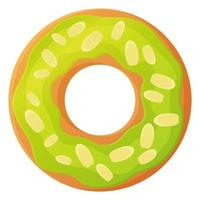 Bright doughnut with green glaze and almond flakes No diet day symbol unhealthy food sweet fastfood sugar snack extra calories concept Stock vector illustration isolated on white background in cartoon style